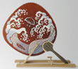 "Japanese colored round fan ""Naminitidori"" Plover and wave"