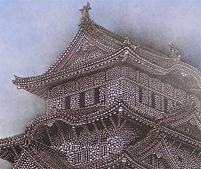 「白鷺城(姫路城)」部分拡大