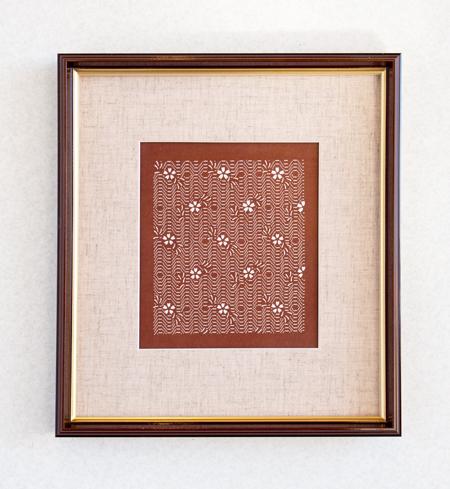 伊勢型紙の額:小紋桜