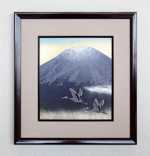 「夫婦鶴に富士」