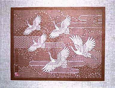 伊勢型紙の額:賑わい小紋に鶴