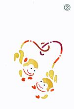 年賀状の型紙(申-2)着色例